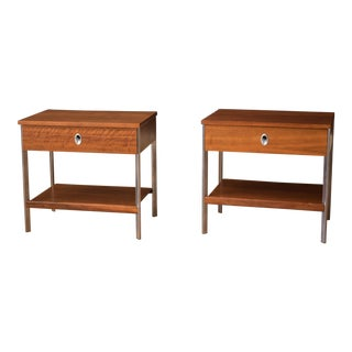 Vintage Pair of California Modern Walnut and Aluminum Nightstands For Sale