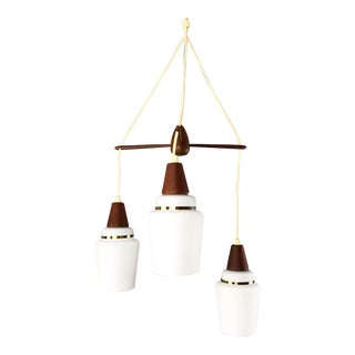Teak & Glass Danish 3 Tier Pendant Lamp For Sale