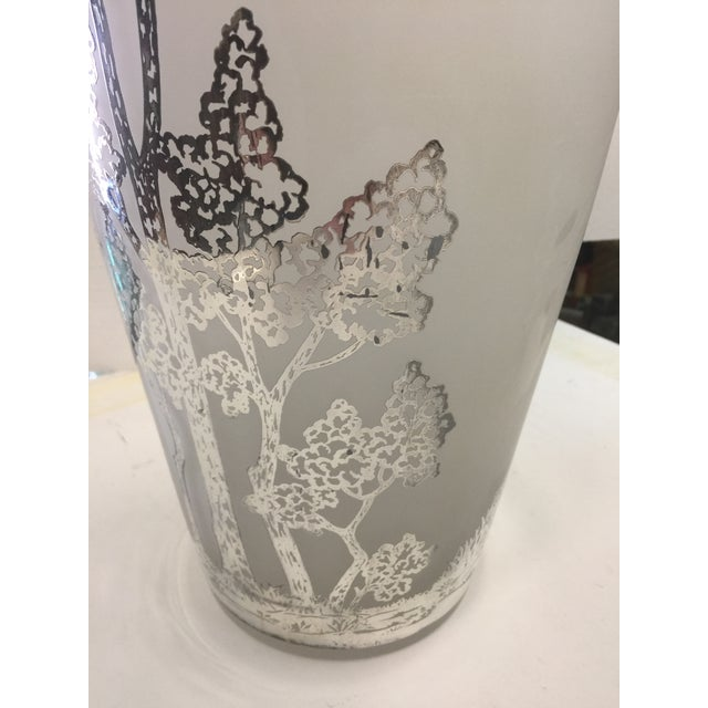 Glass Large Antique Silver Overlay Scenic Vase For Sale - Image 7 of 10
