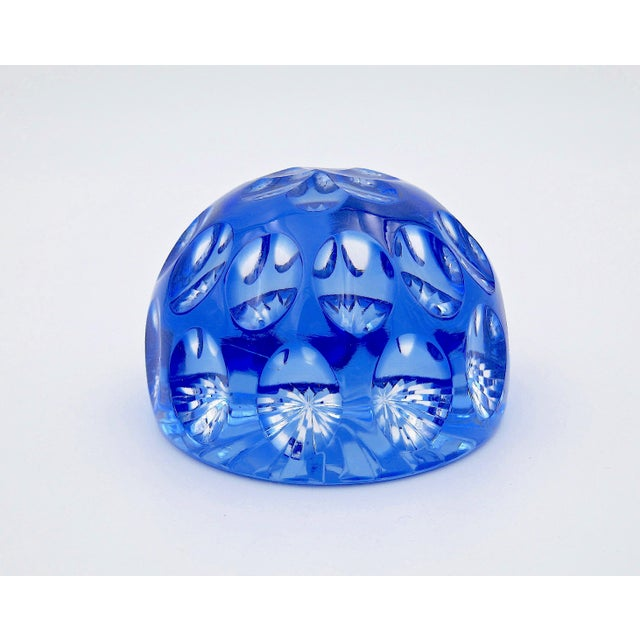 Modern Vintage Blue Crystal Paperweight by Webb Corbett of England For Sale - Image 3 of 12