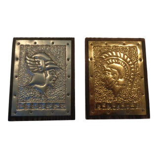 Mid 20th Century Roman Soldier Wall Plaques - a Pair For Sale