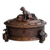 Image of Antique 19th Century Black Forest Carved Dog Box, Lock & Key For Sale