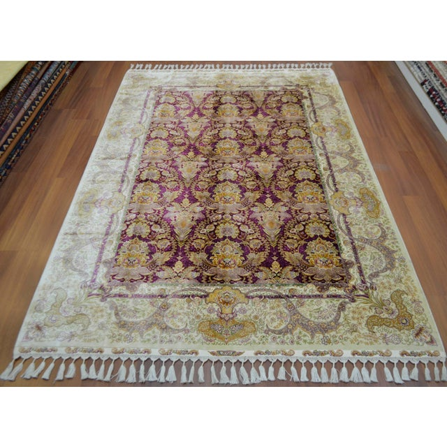 Antique Oushak Style Hand Knotted Silk Rug 56 711