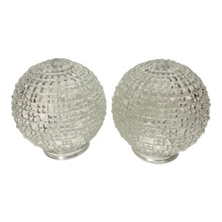 Vintage Crystal Cut Glass Light Globes - a Pair For Sale