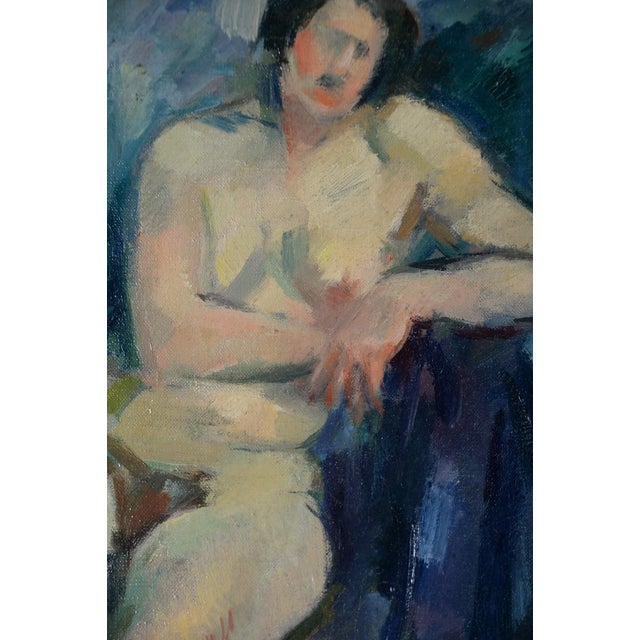 """French Fauvist School """"Sitting Nude"""" Oil Painting For Sale In Los Angeles - Image 6 of 10"""