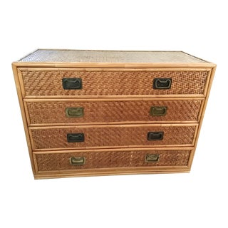 1960s Boho Chic Rattan 4 Drawer Chest For Sale