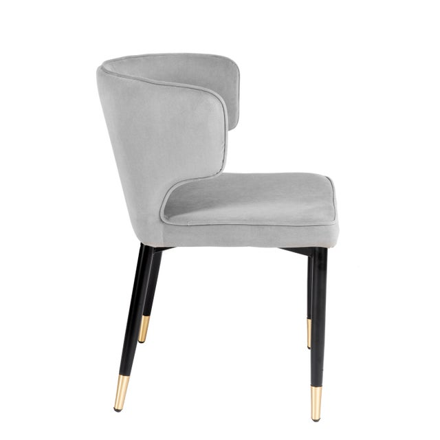 Contemporary Contemporary Kayla Upholstered Dining Chairs in Gray Velvet - a Pair For Sale - Image 3 of 7