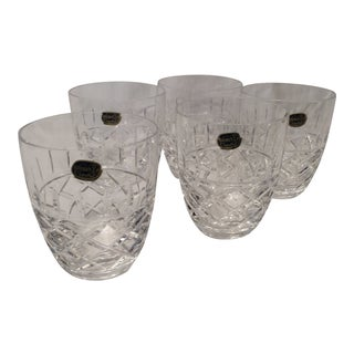 Bohemian Cut Crystal Double Old Fashion Glasses- Set of 5 For Sale