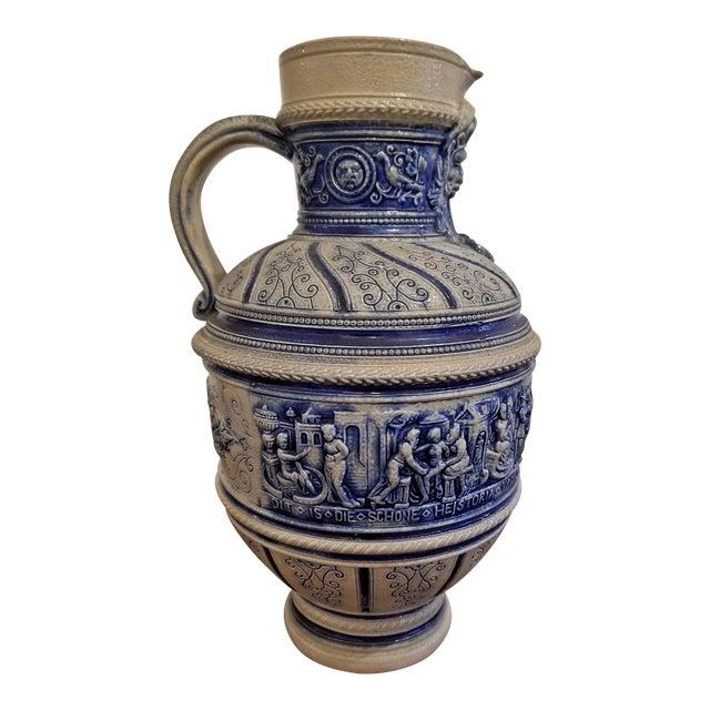 """1584 Flemish Salt Glazed Pottery Beer Ewer """"Story of Susanna"""" After Engel Kran For Sale"""