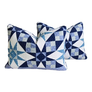 """American Shabby Chic Farmhouse Patchwork Feather/Down Pillows 24"""" X 18"""" - Pair For Sale"""