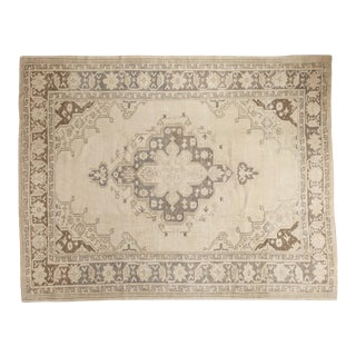 "Vintage Distressed Oushak Carpet - 7'11"" x 9'11"" For Sale"