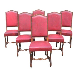 French Louis XIII Style Os De Mouton Red Leather Dining Chairs - Set of 6 For Sale