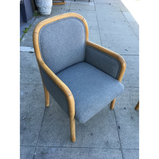 1980s Vintage Sculptural Oak Frame Arm Chairs - a Pair For Sale - Image 9 of 11
