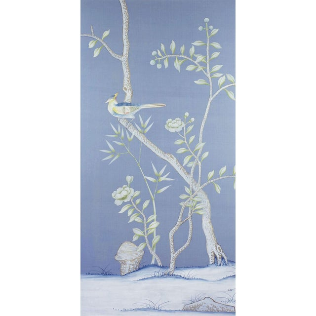 """Hand-painted on an almost """"cornflower"""" blue silk, the largely neutral traditional Chinoiserie diptych has subtle hints of..."""