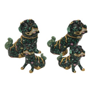 Four Herend Foo Dogs Black Dynasty For Sale
