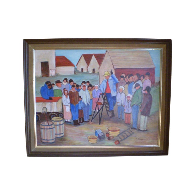 """The Farm Wake,"" Painting by Evelyn Singer - Image 1 of 3"