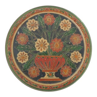 Small Metal Cloisonné Hand Painted Decorative Wall Plate For Sale