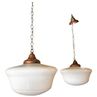 Art Deco Milk Glass and Copper Schoolhouse Pendant Lights For Sale