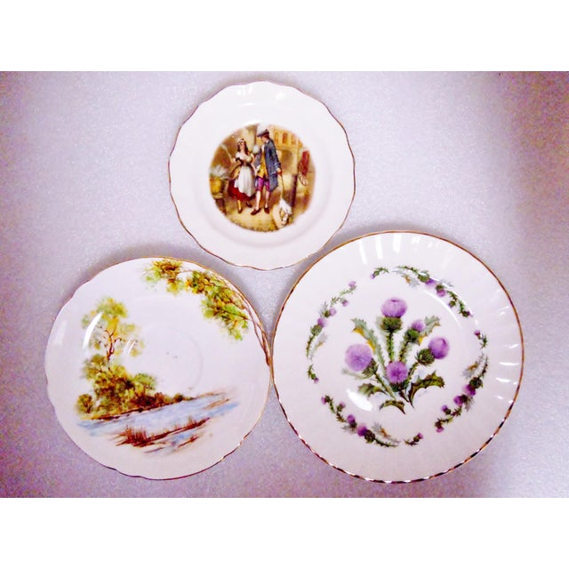 Staffordshire Bone China Plates, England - Set of 3 For Sale - Image 10 of 10