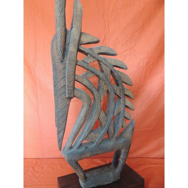 Wood Large Antelope Chi Wara Head-Crest African Wood Carved Sculpture Primitive Art For Sale - Image 7 of 9
