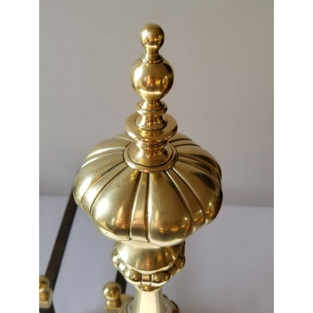 1950s Mid-Century English Style Large Brass Andirons-A Pair For Sale - Image 5 of 13