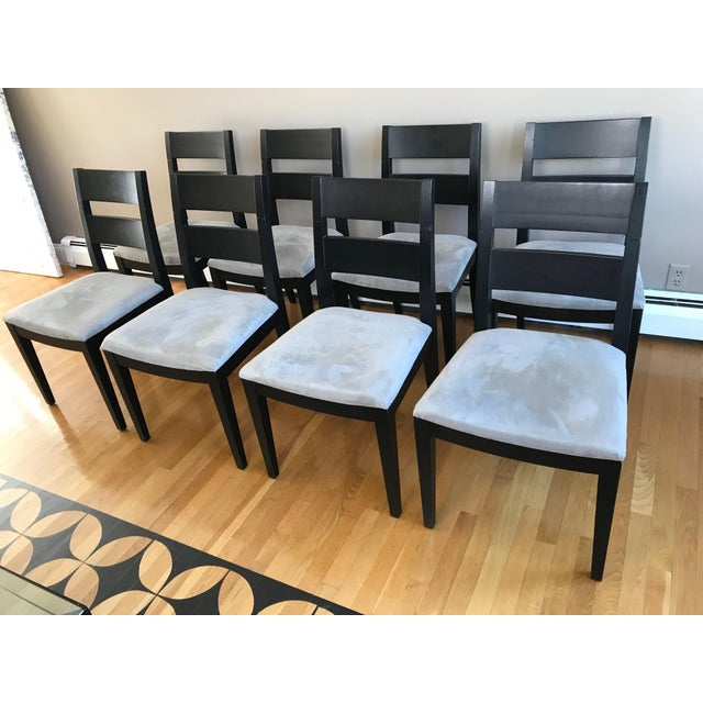 1980s Vintage Black Solid Wood Dining Chairs Set Of 8 Chairish