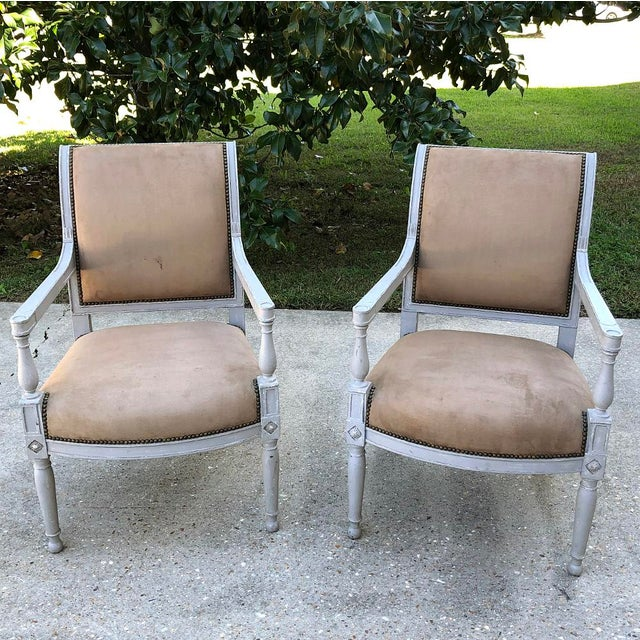 Pair 19th Century French Louis XVI Painted Armchairs For Sale - Image 13 of 13