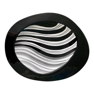 Mid Century Modern Italian Black and White Hand Painted Oval Platter For Sale