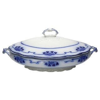 Antique Flow Blue Shamrock Tureen For Sale