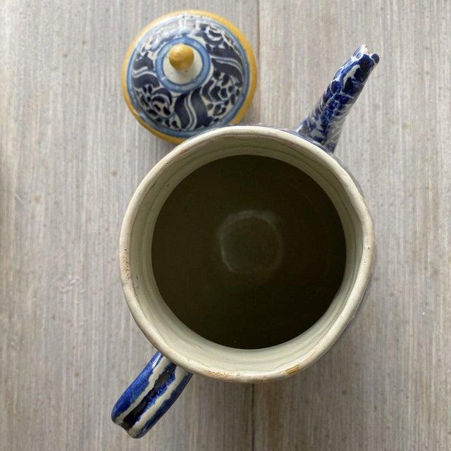 "Pair of Mexican 1920 Tea Pots & Creamer Tea Pot Height: 9"" Dia: 8"" Creamer Height: 7"" Dia: 7"""