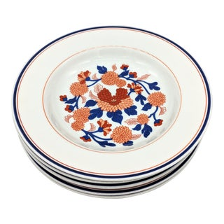 Fitz and Floyd Mandarin Garden White, Blue and Red Flower Bowls - Set of 5 For Sale