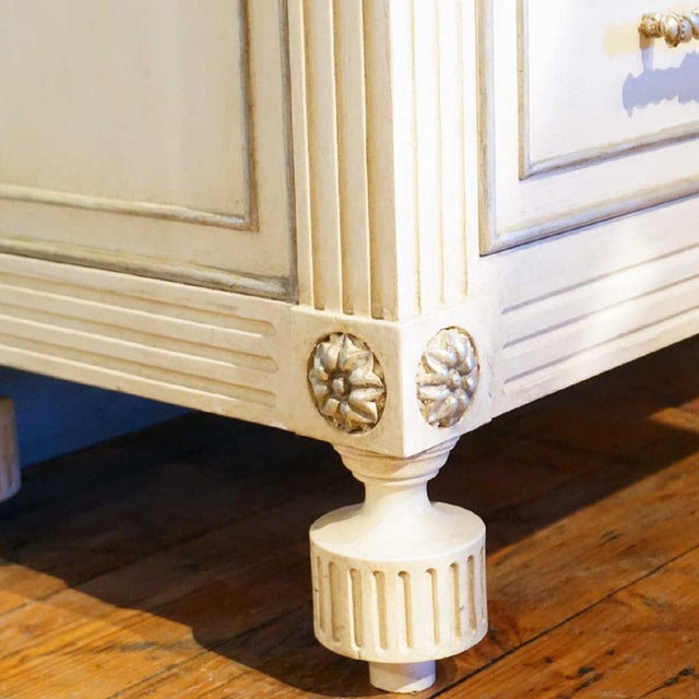 Wood Hollywood Regency Ebanista Villa Lorenzo Painted Marble Top Chest For Sale - Image 7 of 8