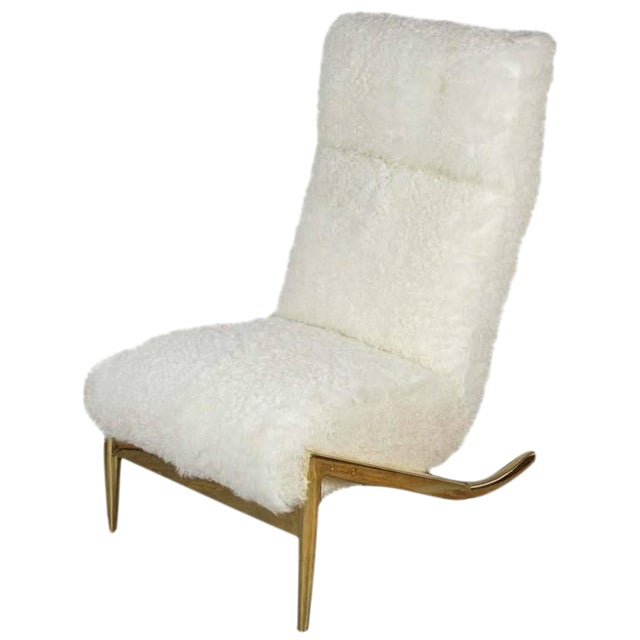 Paul Marra Slipper Chair in Brass with Curly Goat - Image 1 of 7