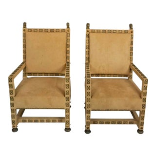 1950s Vintage Baroque Style Open Arm Chairs- A Pair For Sale
