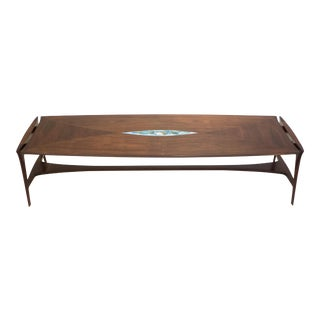 Henry Glass Cocktail Table with Enamel Insert For Sale