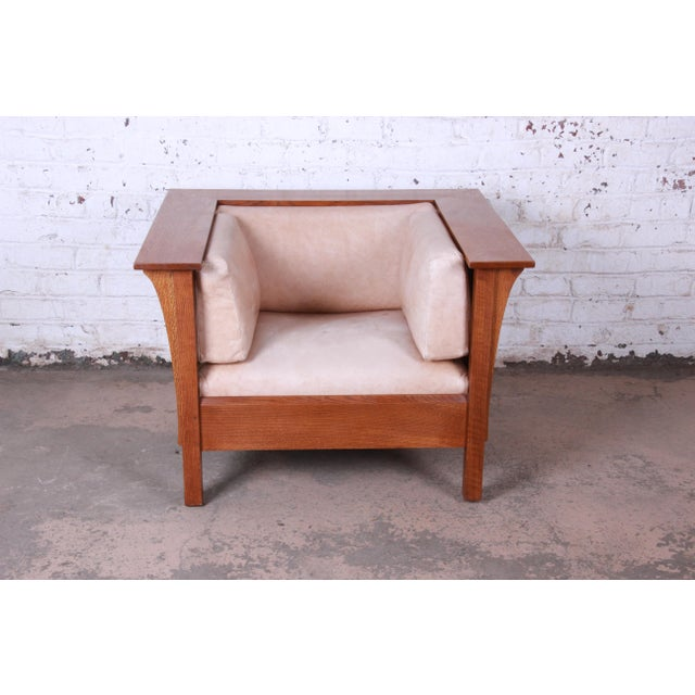1990s Stickley Mission Prairie Armchair With Tan Leather Upholstery For Sale - Image 5 of 13