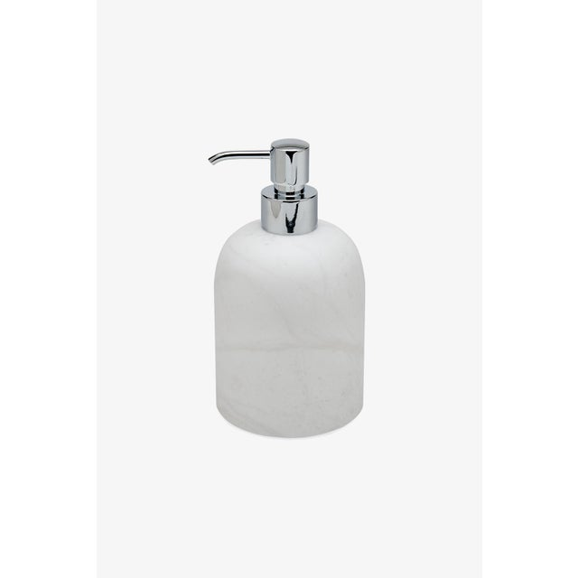 Contemporary Cava Round Soap Dispenser in Alabaster For Sale - Image 3 of 3