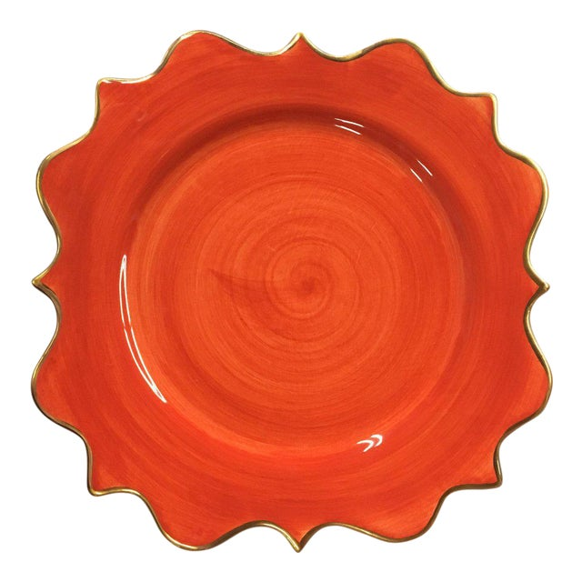 "Boho Chic l'Objet ""Meridian Coral"" Hand Painted Porcelain Salad Plate For Sale"