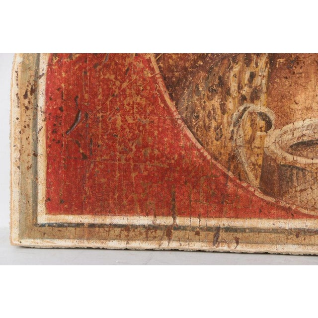 Large Fresco Painting on Wood of Grecian Man & Woman by Jacques Lamy - Image 5 of 9