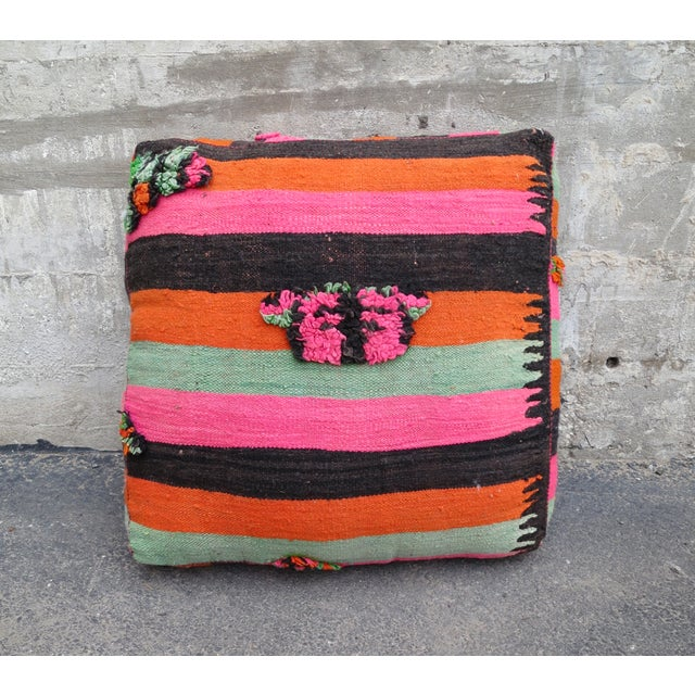 Pink Striped Moroccan Floor Pillow - Image 2 of 4