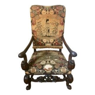 Baroque French Tapestry Throne Chair in Black Walnut For Sale
