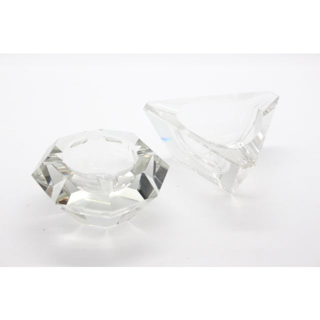 Geometric Lead Crystal Ashtrays - A Pair For Sale - Image 11 of 11