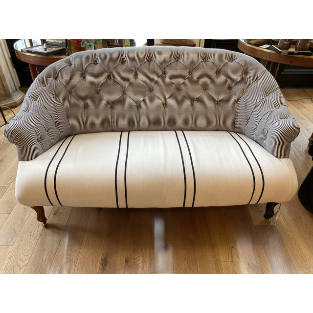 Bunakara Fingerprint Black and White Stripe Tufted Settee For Sale In Louisville - Image 6 of 6