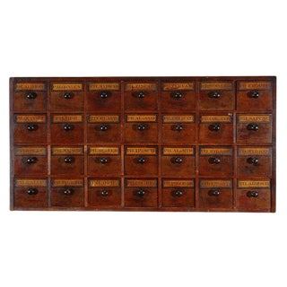 Early 19th Century English Apothecary Wall Chest With Handwritten Labels For Sale