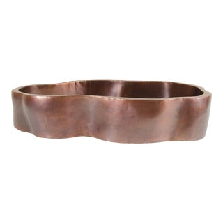 Root Shape Oblong Low Cachepot - Antique Copper by Robert Kuo, Hand Repoussé, Limited Edition