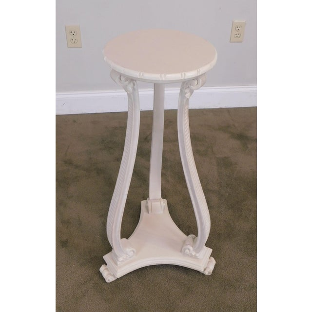 1960s Hollywood Regency Vintage Pair White Washed Lacquer Italian Pedestals For Sale - Image 5 of 12