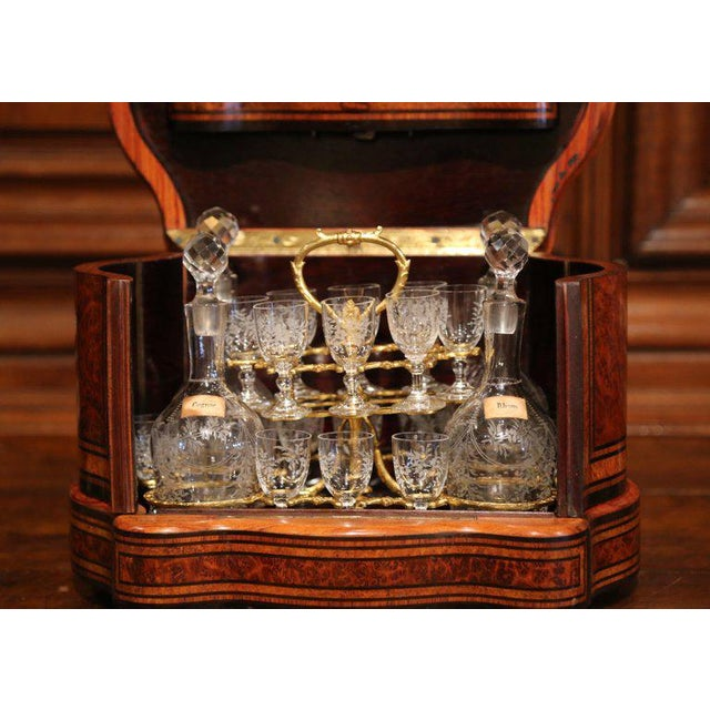 Important 19th Century French Napoleon III Walnut & Burl Cave a Liqueur Tantalus For Sale - Image 9 of 11