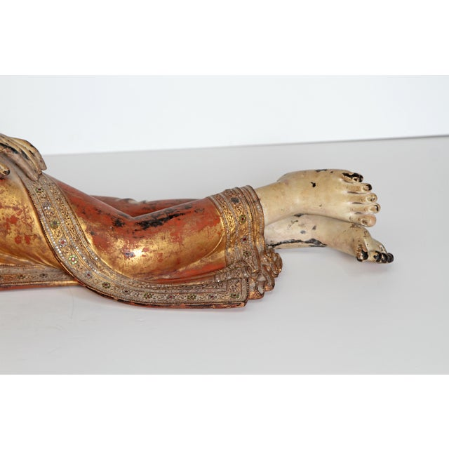 Mid 19th Century Reclining Buddha / Draped in Golden Robes With a Jeweled Border and Headress For Sale - Image 5 of 13