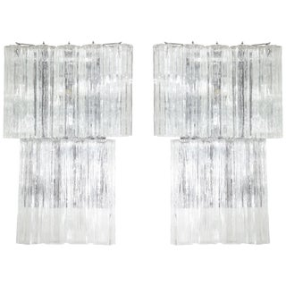 Pair of Large 1970's Tronchi Tube Sconces For Sale