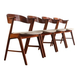 Kai Kristiansen No. 32 Chairs in Teak - A Set of 4, Denmark For Sale